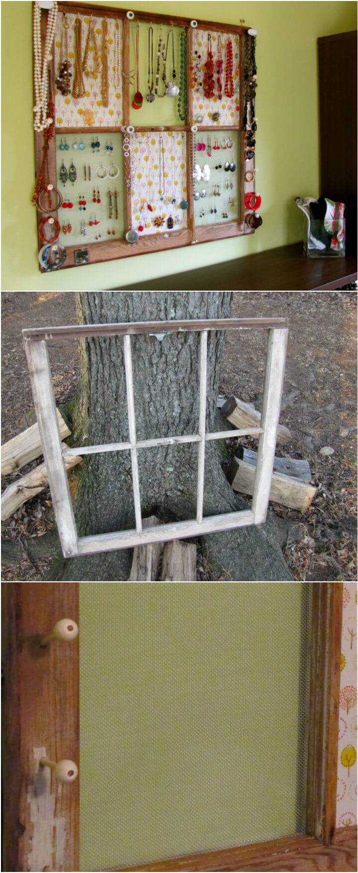 upcycled window into jewelry organizer