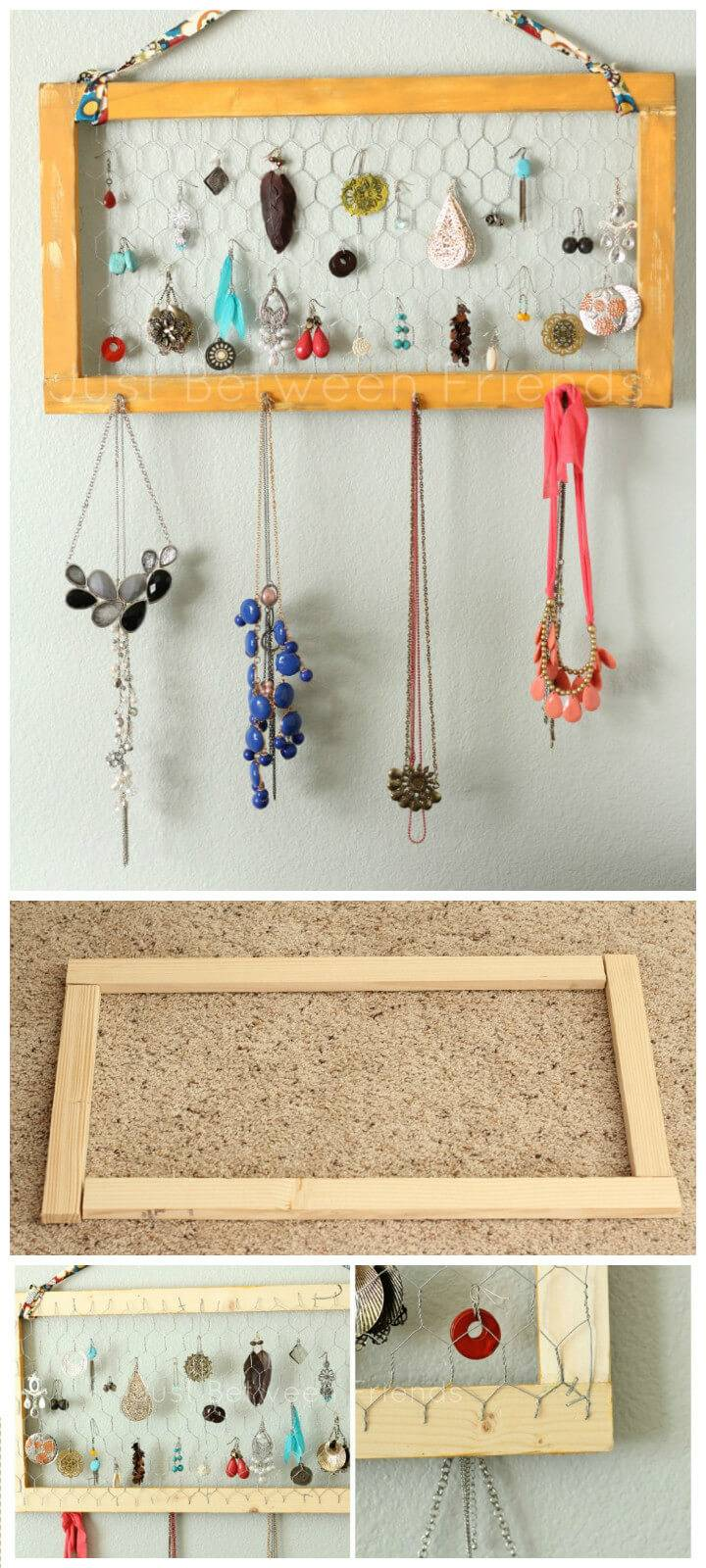 jewelry organizer made of wood and chicken wire