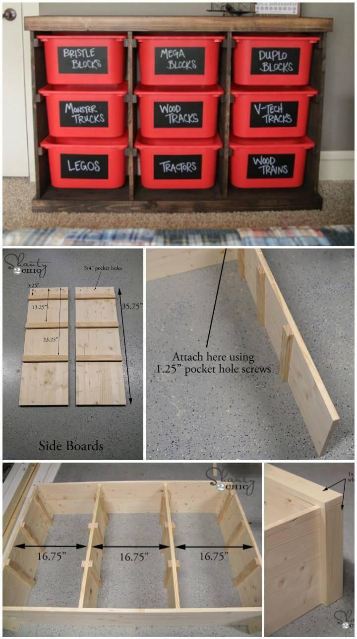 self-made wood and plastic basket storage rack
