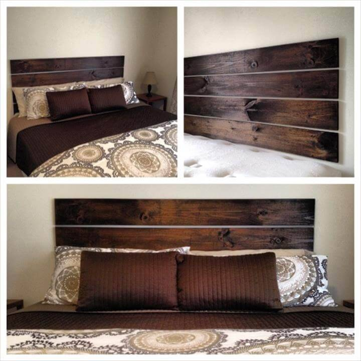 wooden planks into floating headboard
