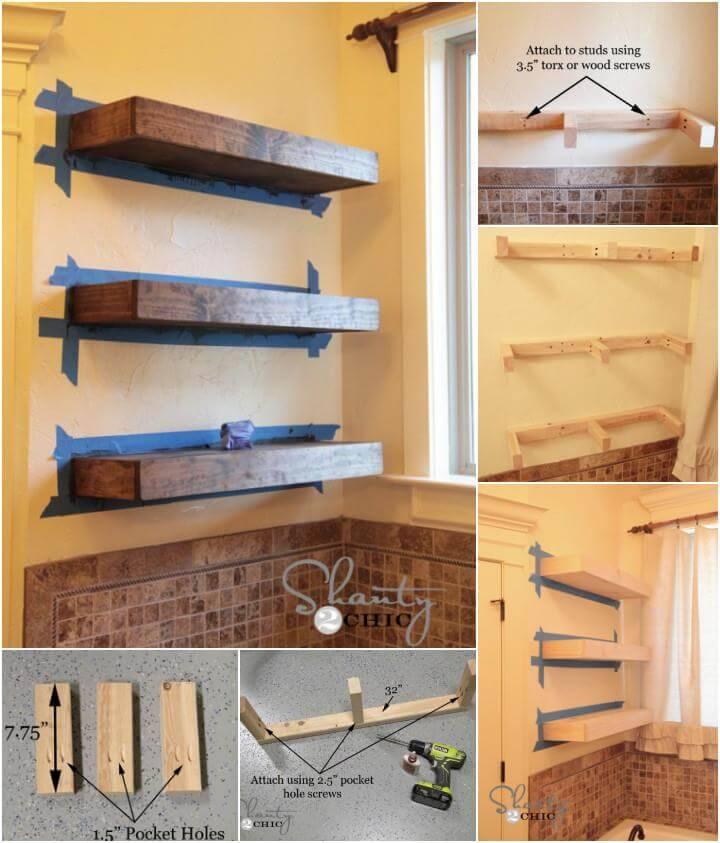 self-installed wooden floating shelves