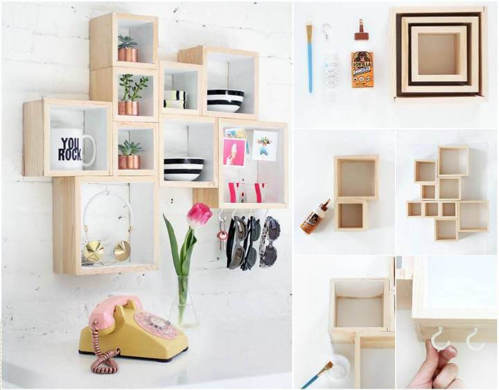 self-installed wall hanging box shelves