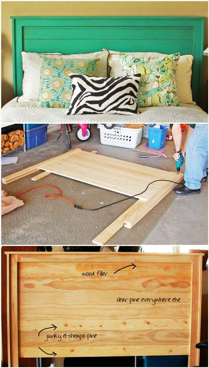 hand-built wooden king headboard