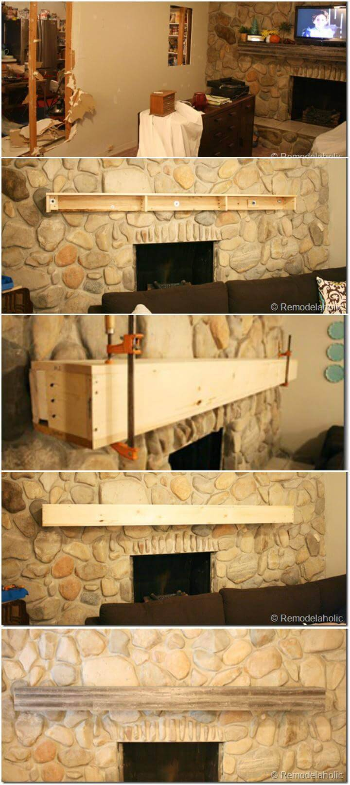 self-installed wooden mantel