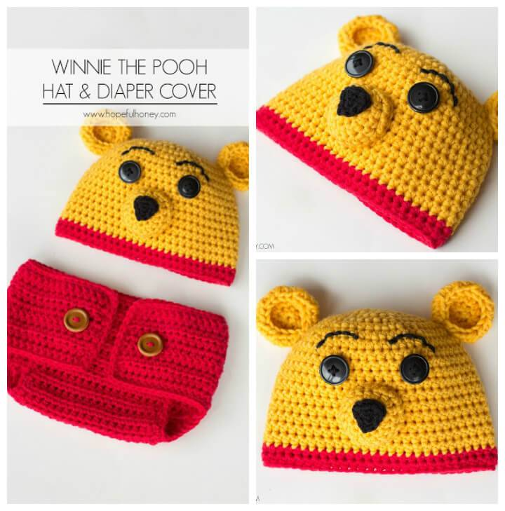 DIY crochet winnie the pooh crochet baby hat and diaper cover