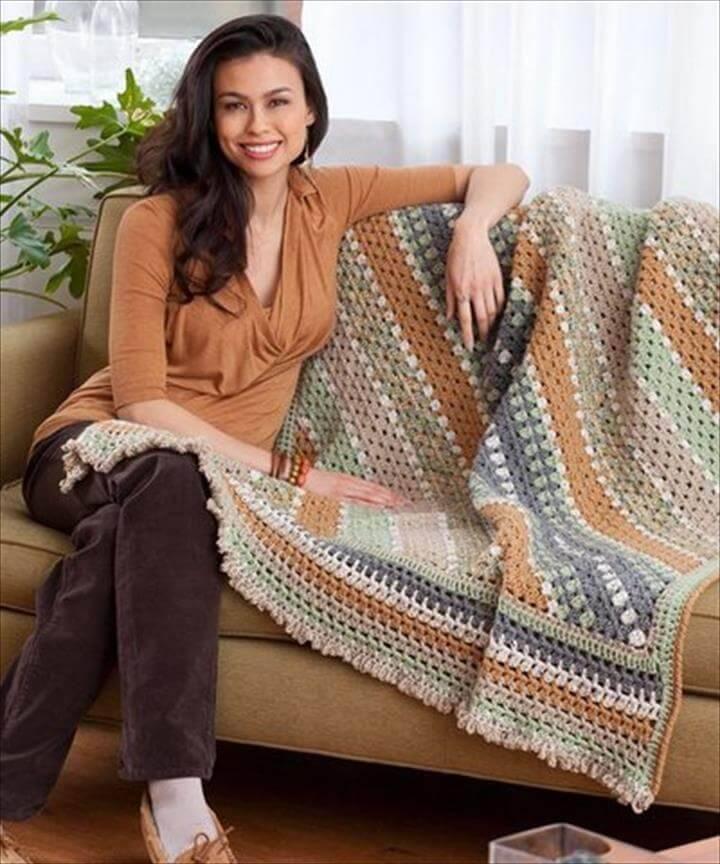 easy crochet granny stitch diagonal line blanket pattern