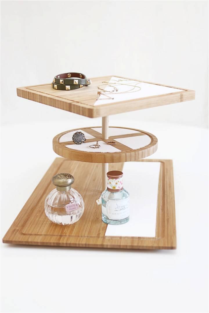 DIY scandinavian 3 tiered wooden jewelry display and organizer