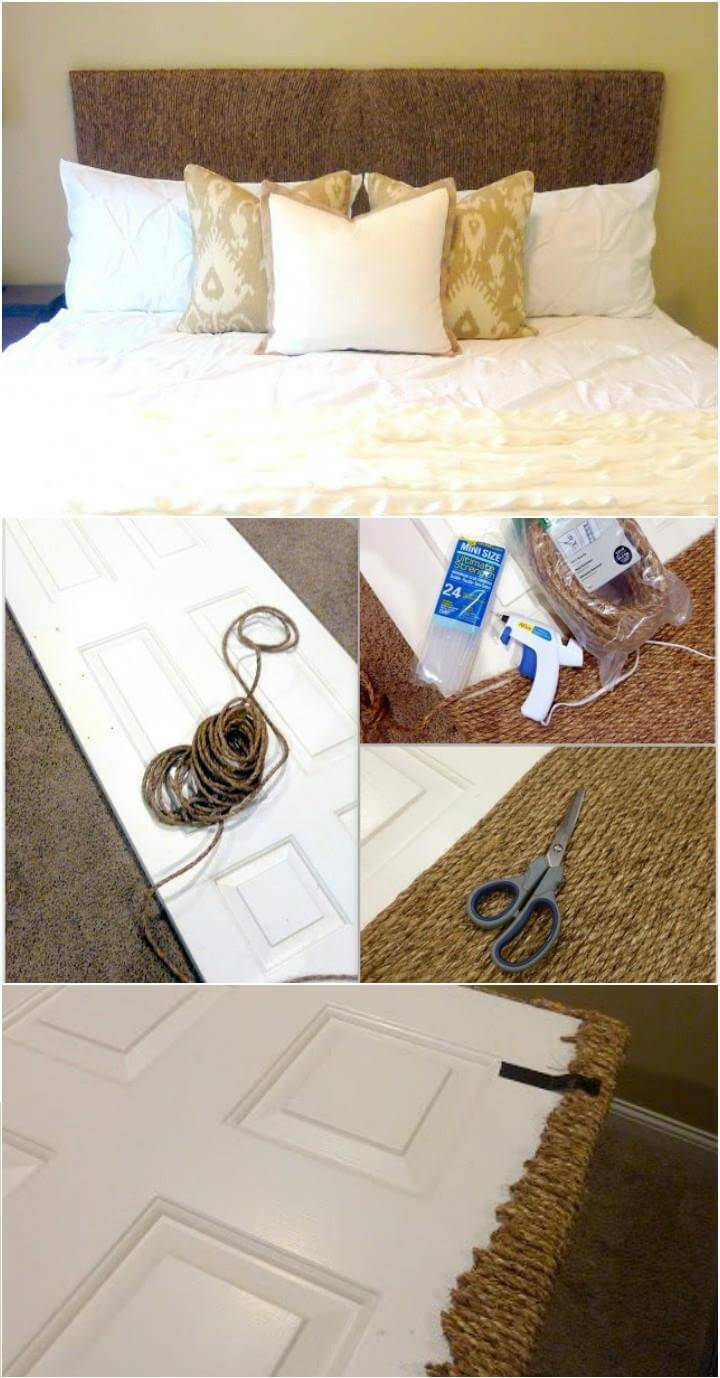upcycled old door and rope headboard