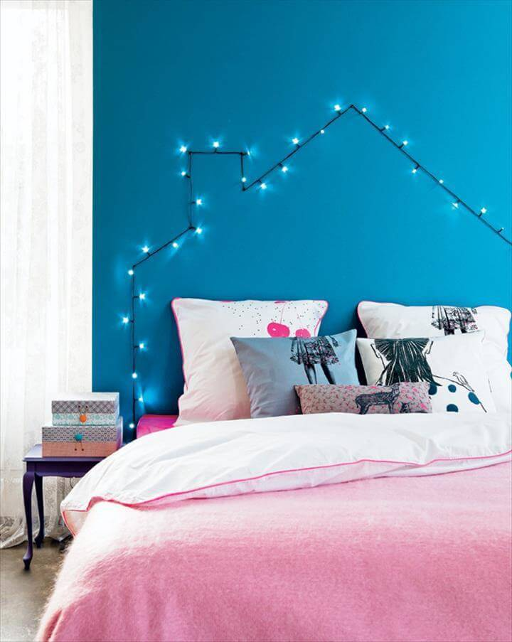 DIY string light headboard