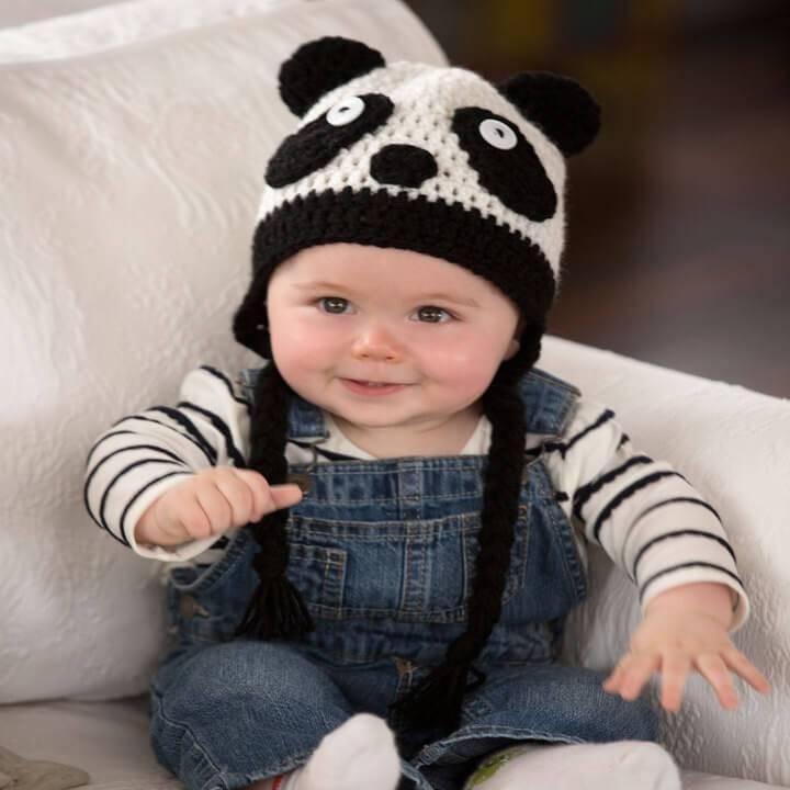 sweet baby panda crochet hat