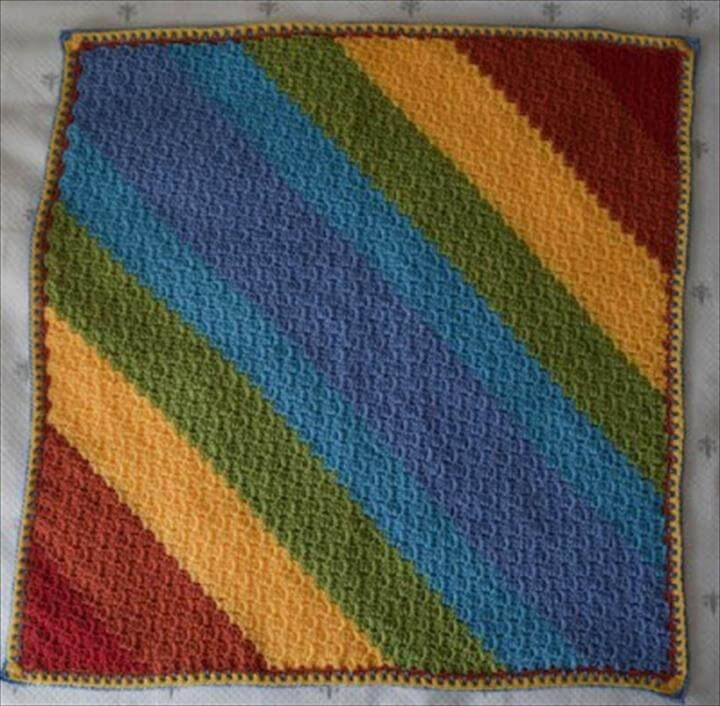 easy rainbow diagonal baby blanket pattern