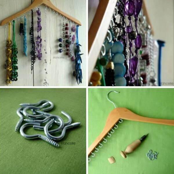 repurposed cloth hanger into jewelry organizer