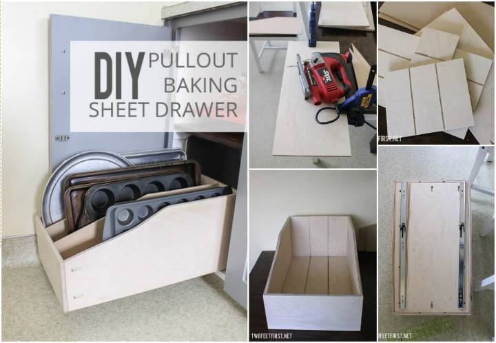 hand-built pullout baking sheet drawer