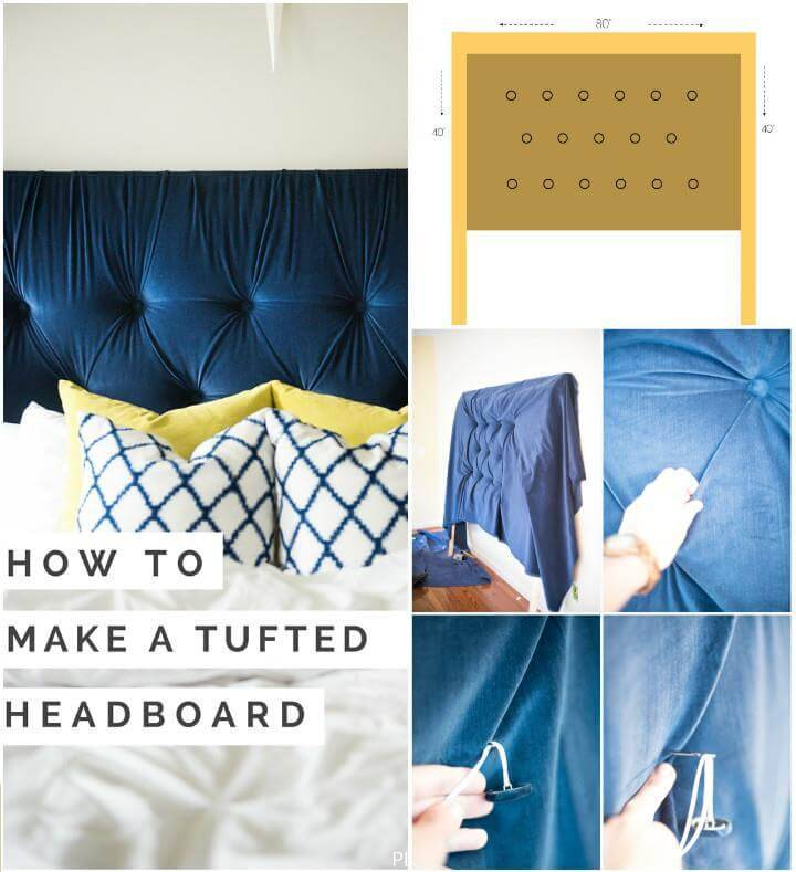 self-made blue tufted headboard