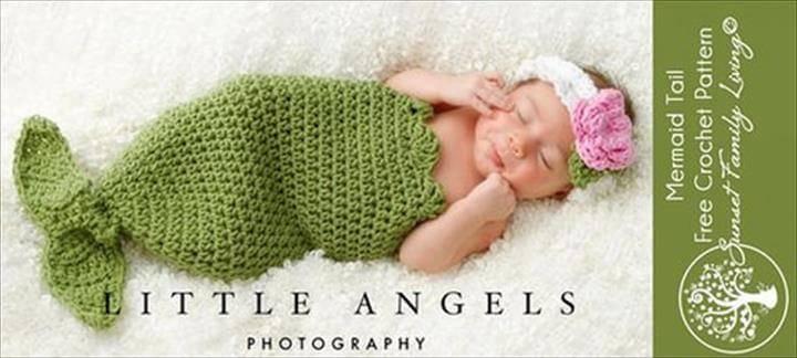 adorable crochet mermaid tail baby cocoon and headband!