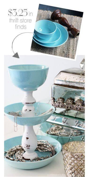 thrifted dollar store utensils into jewelry organizer