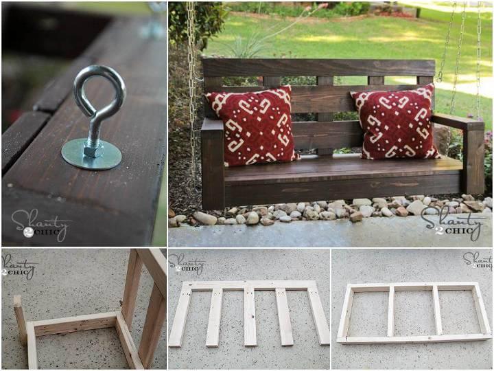 hand-built wooden porch swing