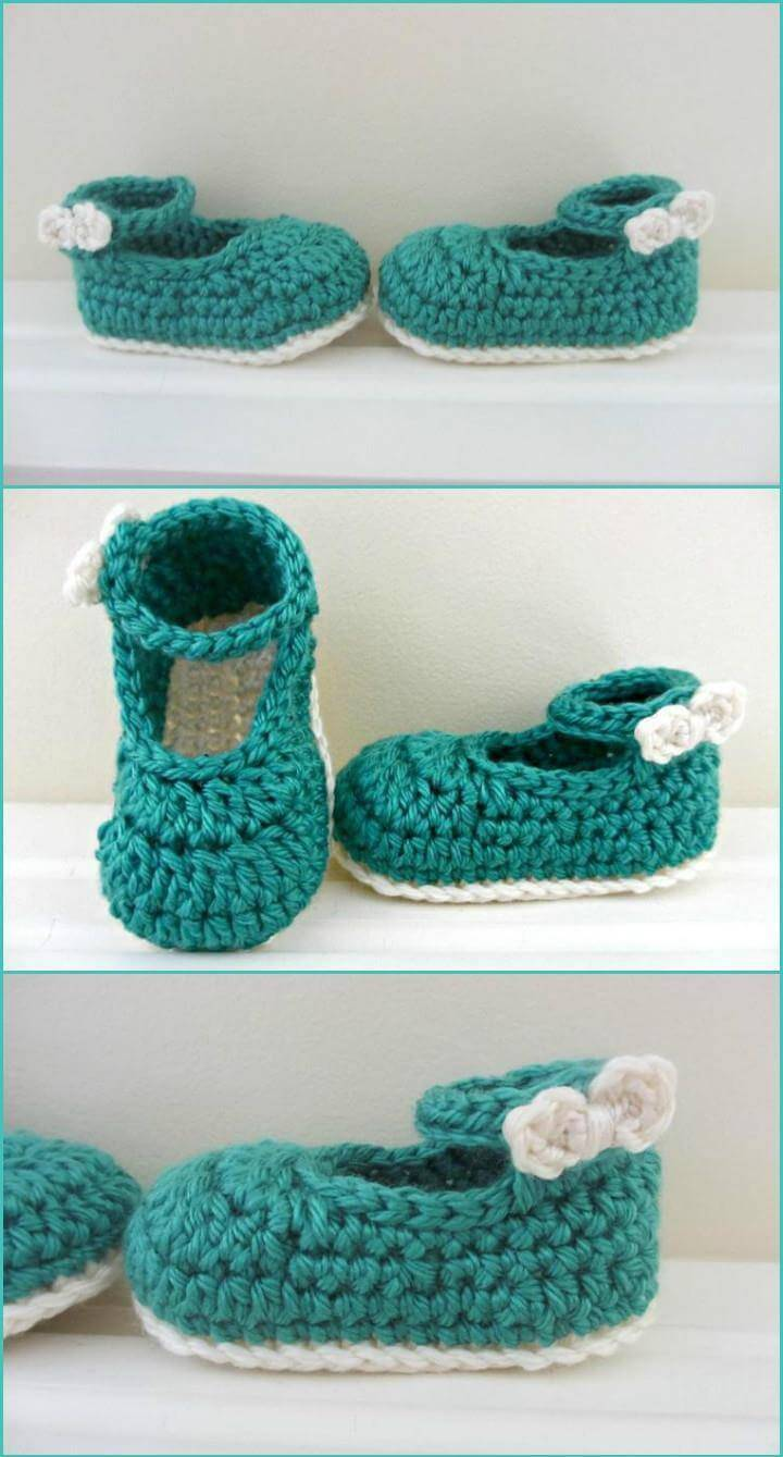 free crochet bow buckle Mary Janes