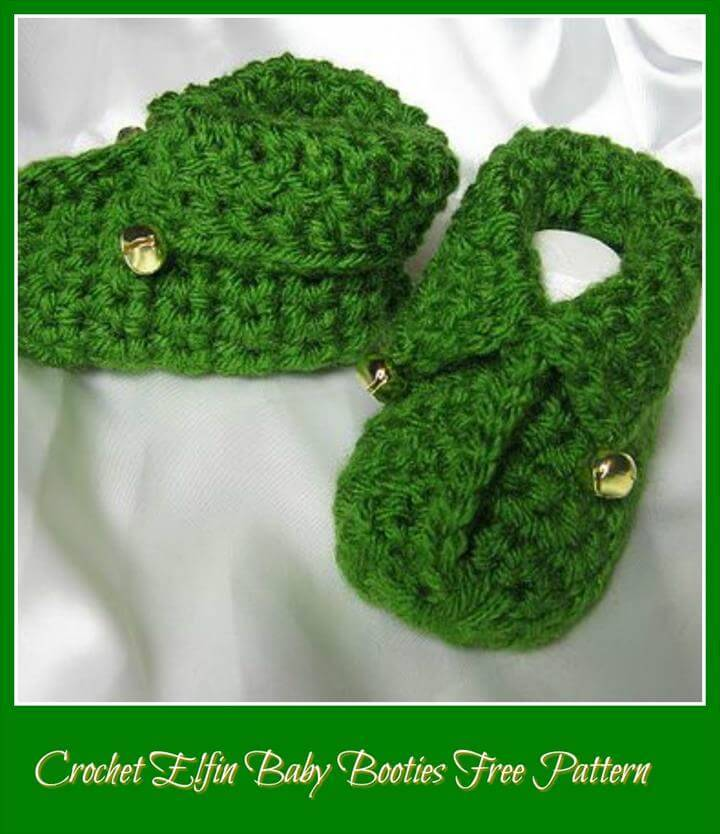 free crochet elfin green baby shoes