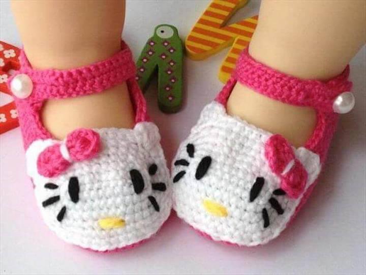free crochet hello kitty baby booties