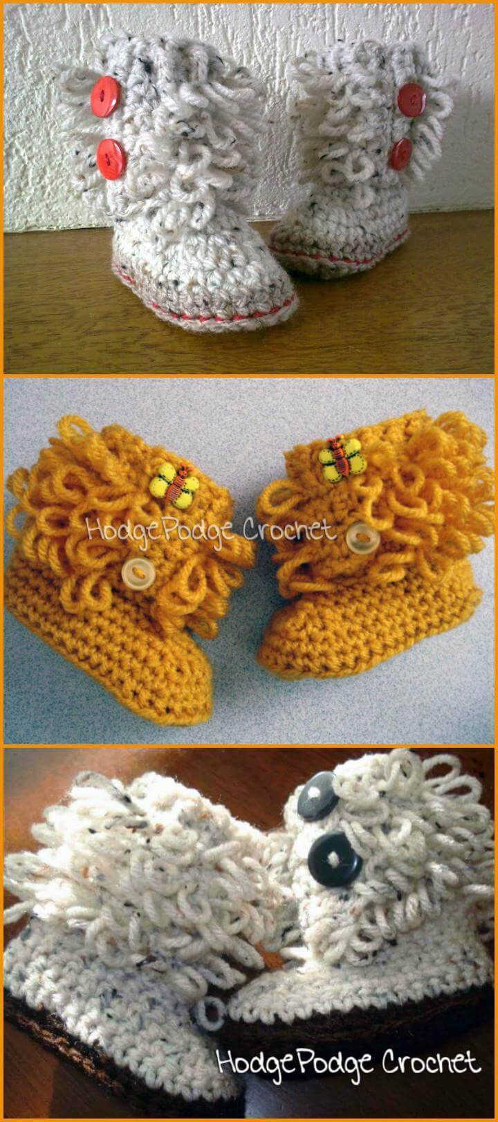 free crochet revisited loop baby shoes