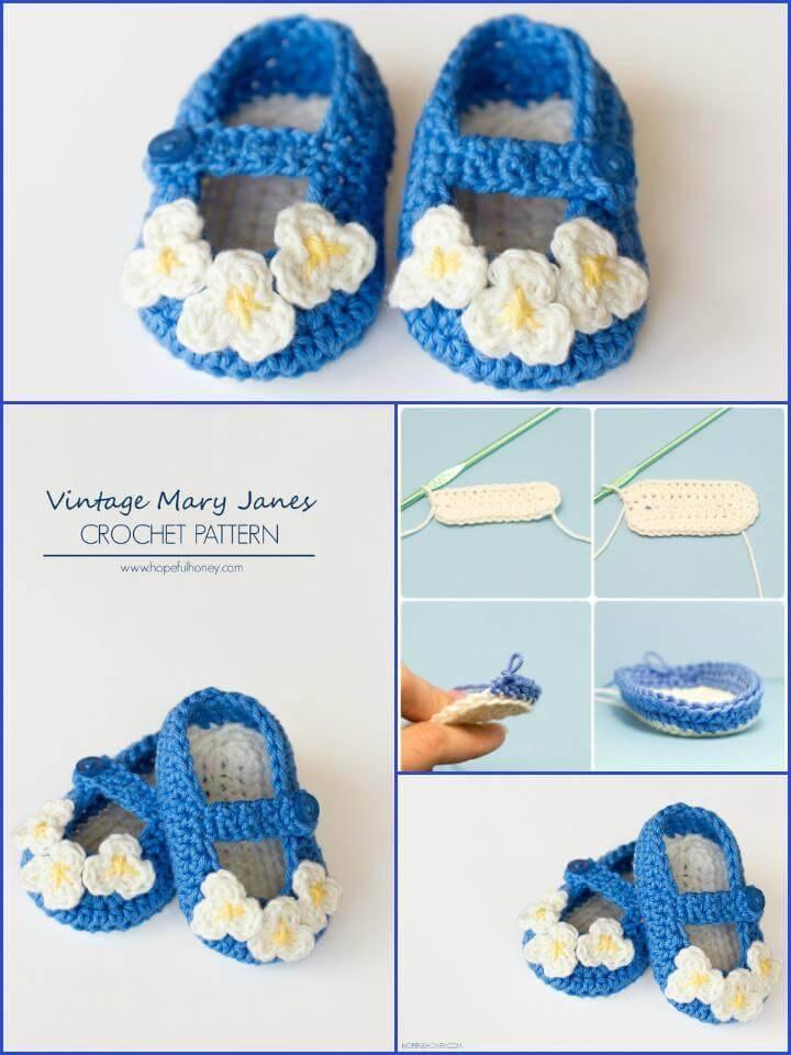 vintage crochet Mary Janes