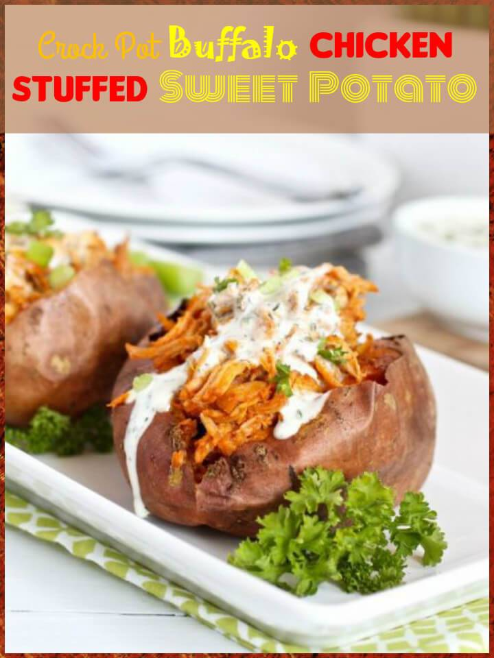 easy crock pot buffalo chicken stuffed sweet potato