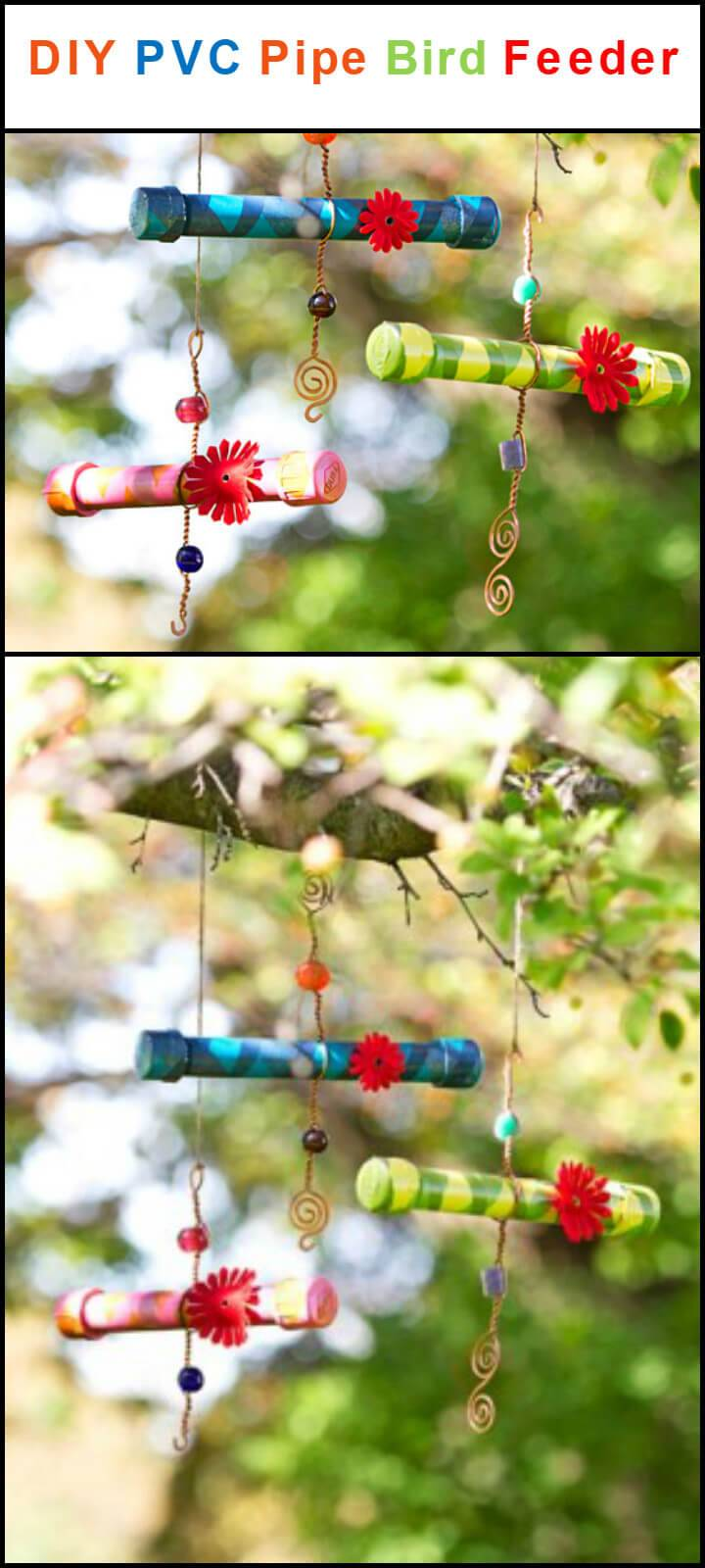 upcycled PVC pipe bird feeder
