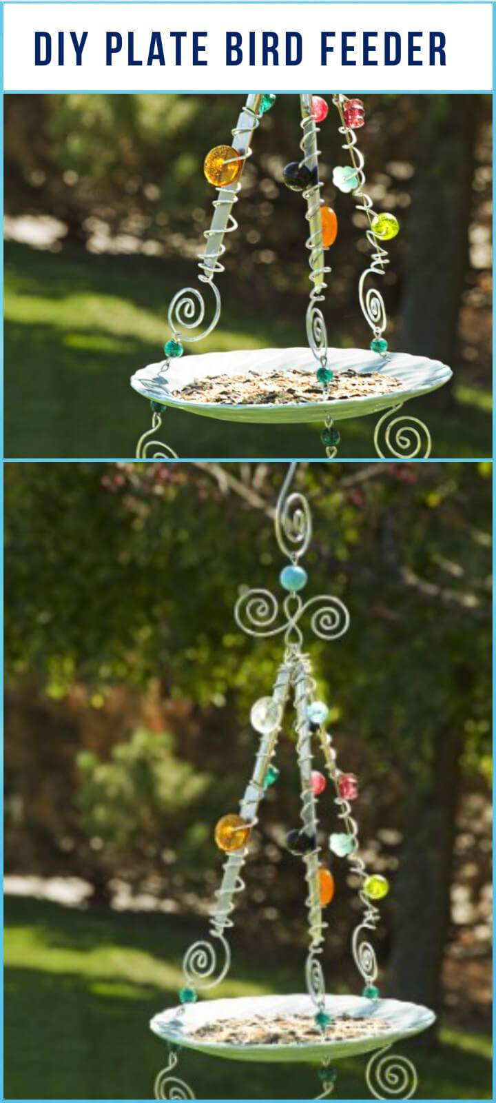 repurposed plate bird feeder