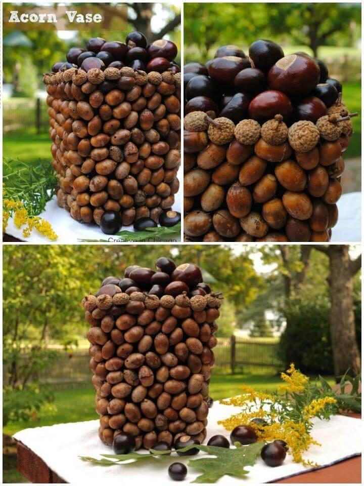 beautiful DIY acorn vase