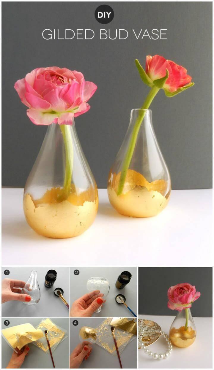 diy gold leaf gilded bud vase