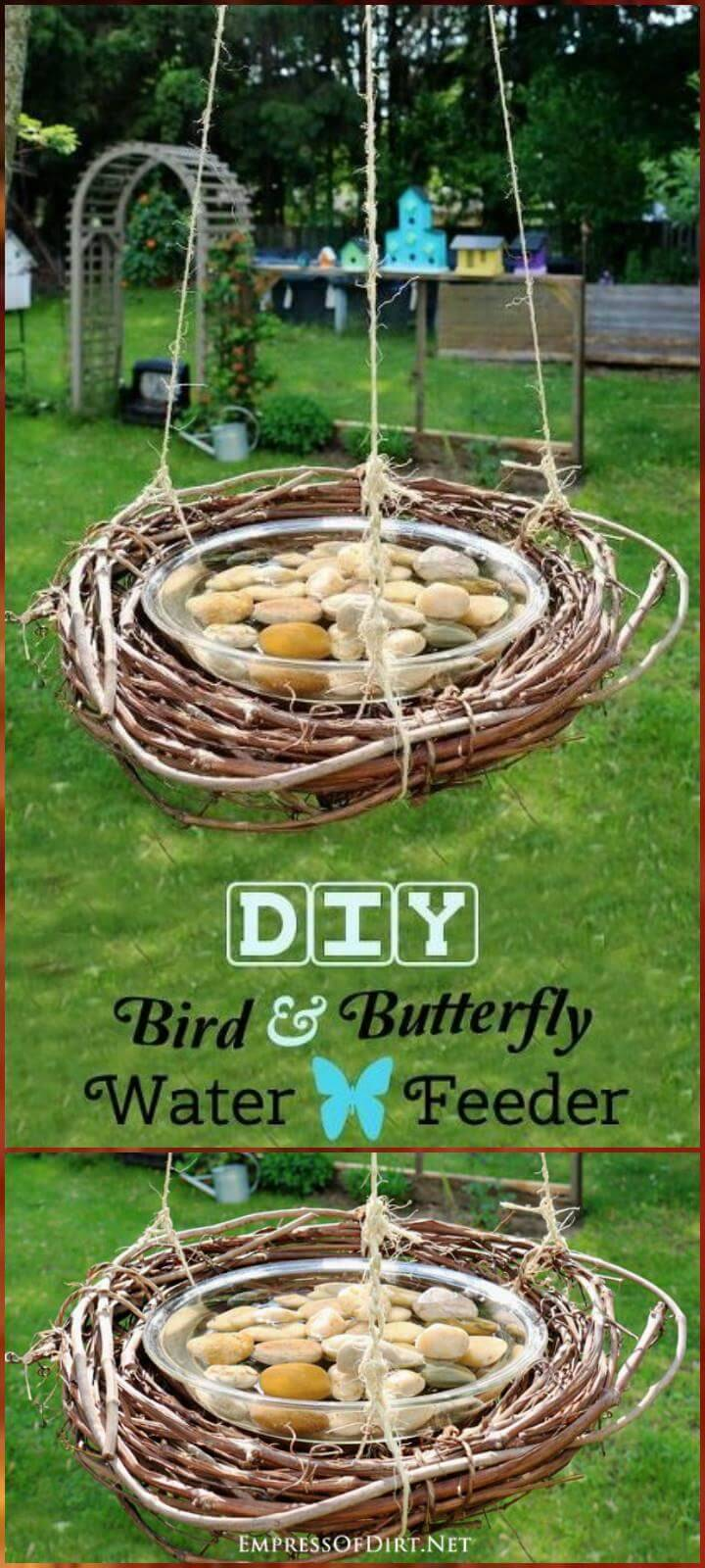 self-made bird butterfly and bee water feeder