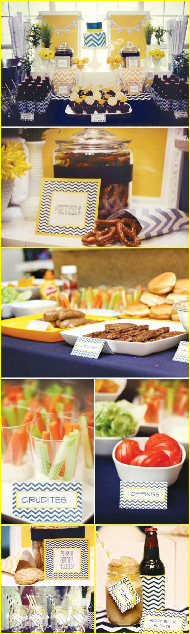 chic navy and yellow graduation party theme