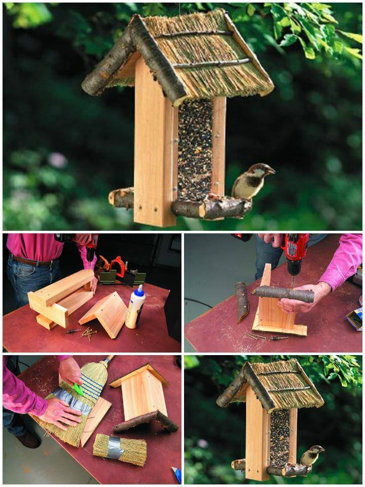 beautiful cozy cabin bird feeder