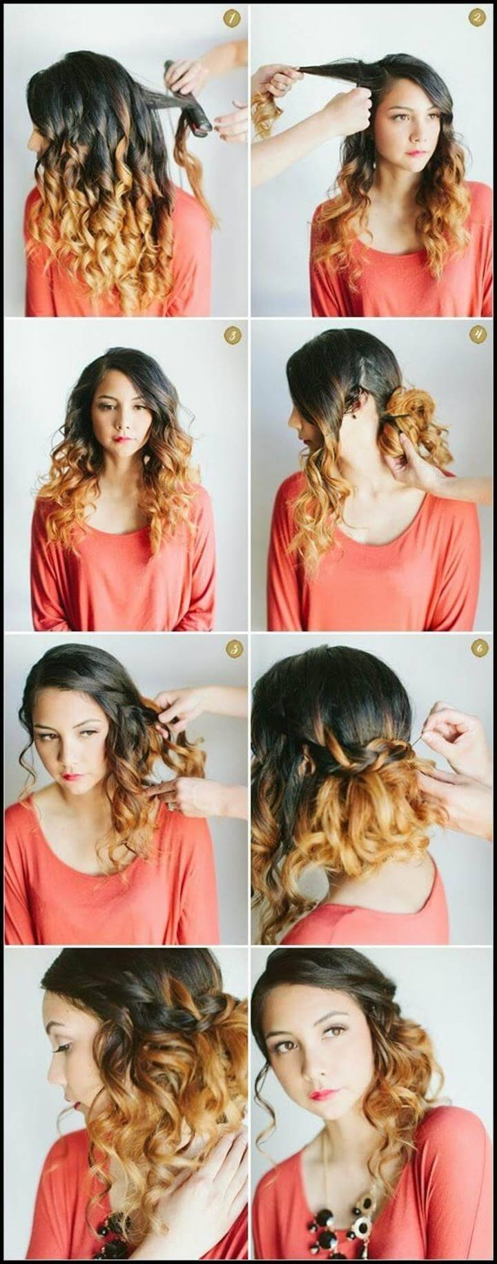diy half up curly hairstyle