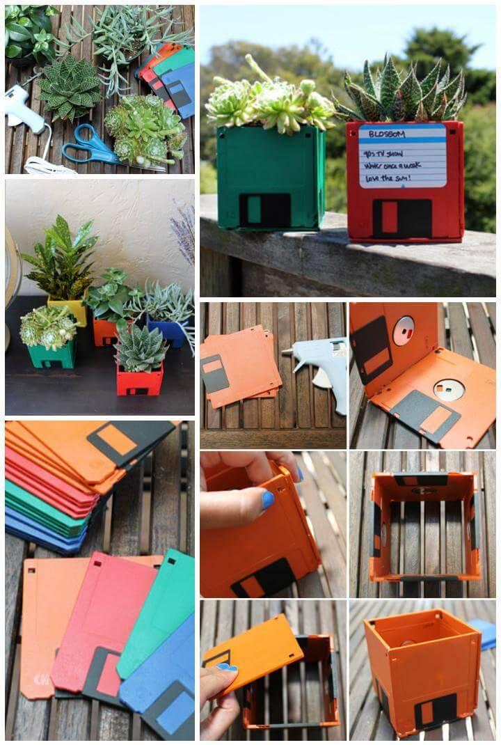 reclaimed floppy disk vases
