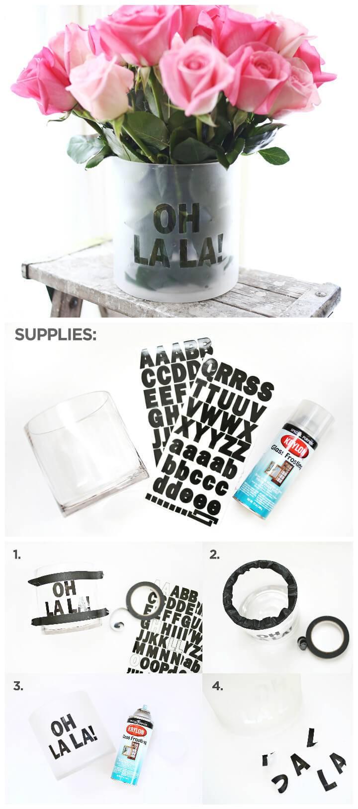 DIY frosted phrase vase