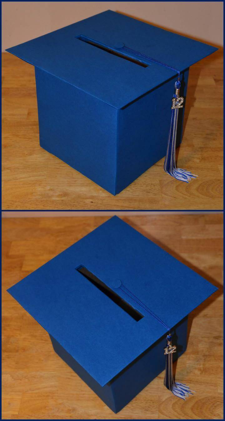 handmade blue graduation hat box