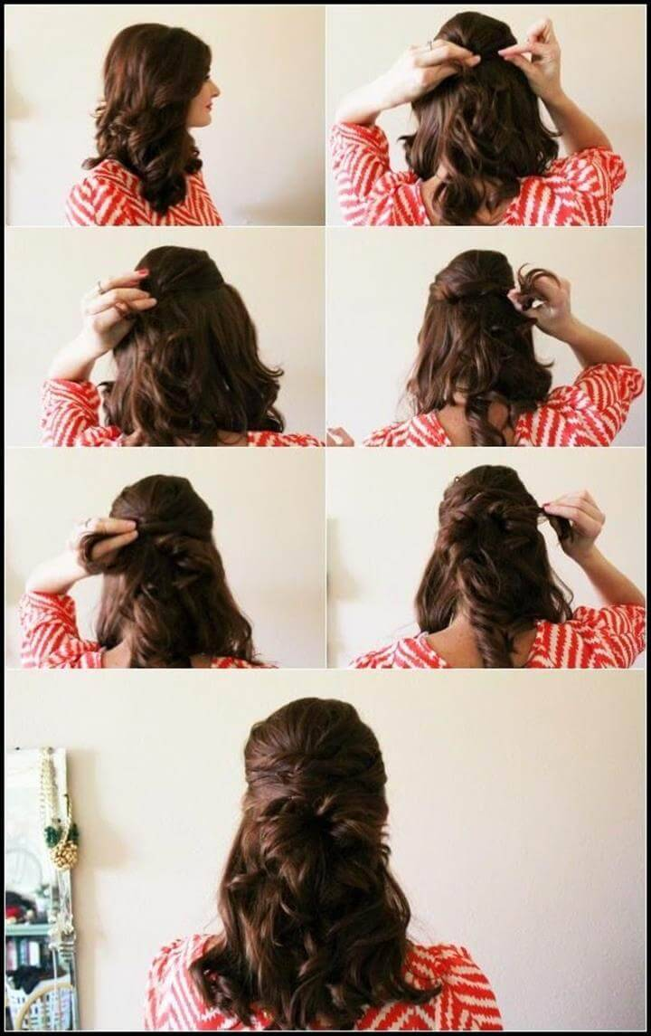cute half up criss cross hairstyle