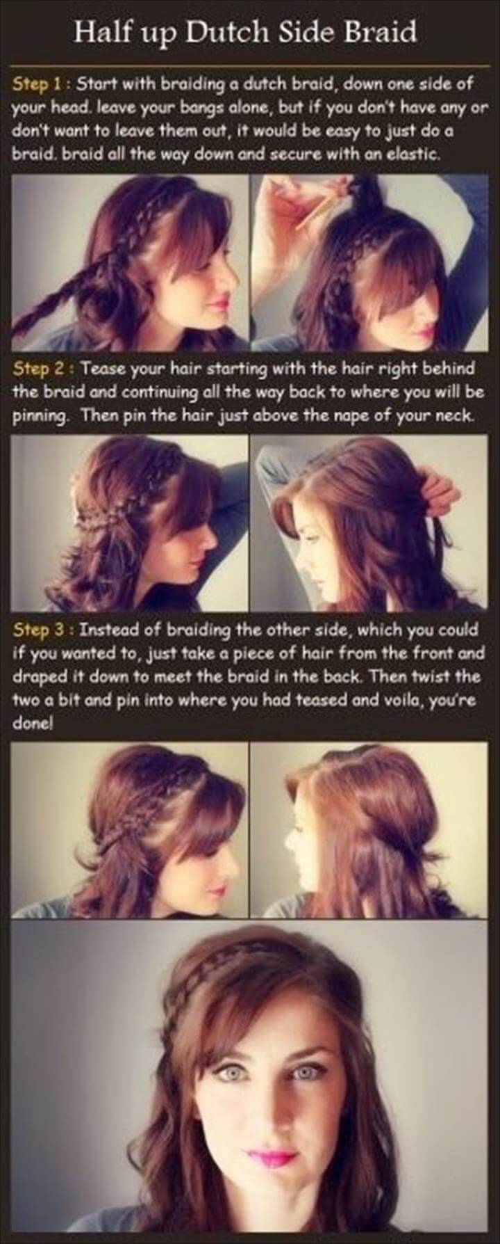 half up dutch side braid hairstyle