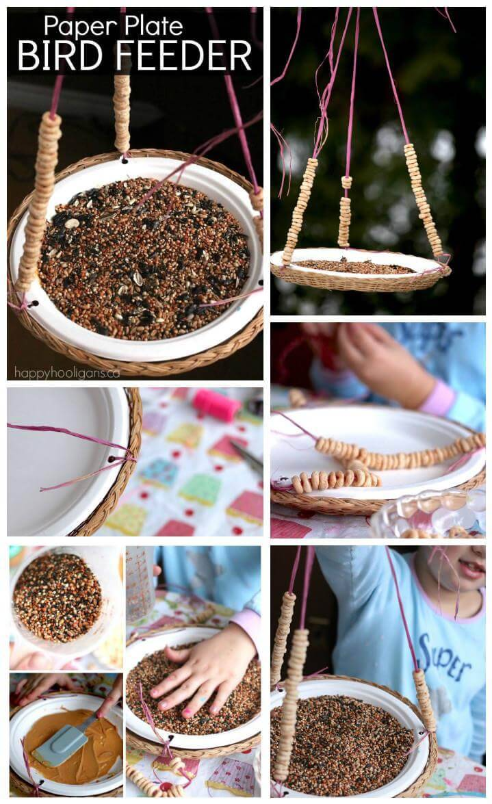self-made paper plate bird feeder