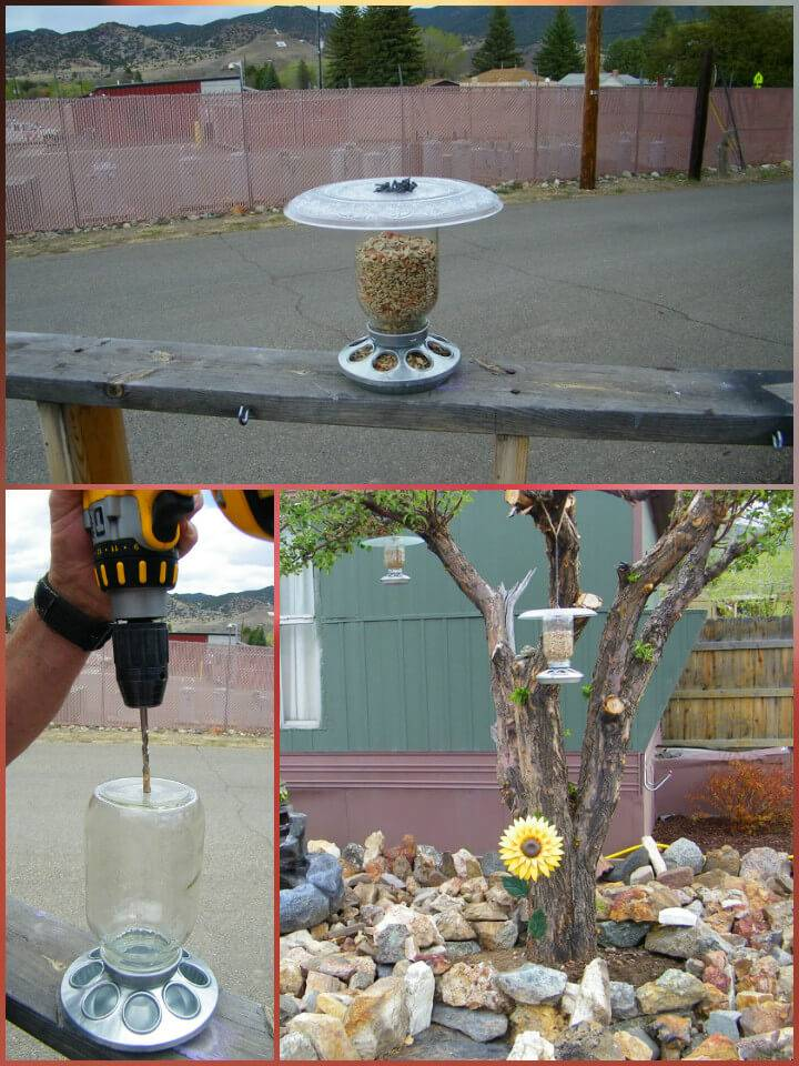 repurposed mason jar bird feeder