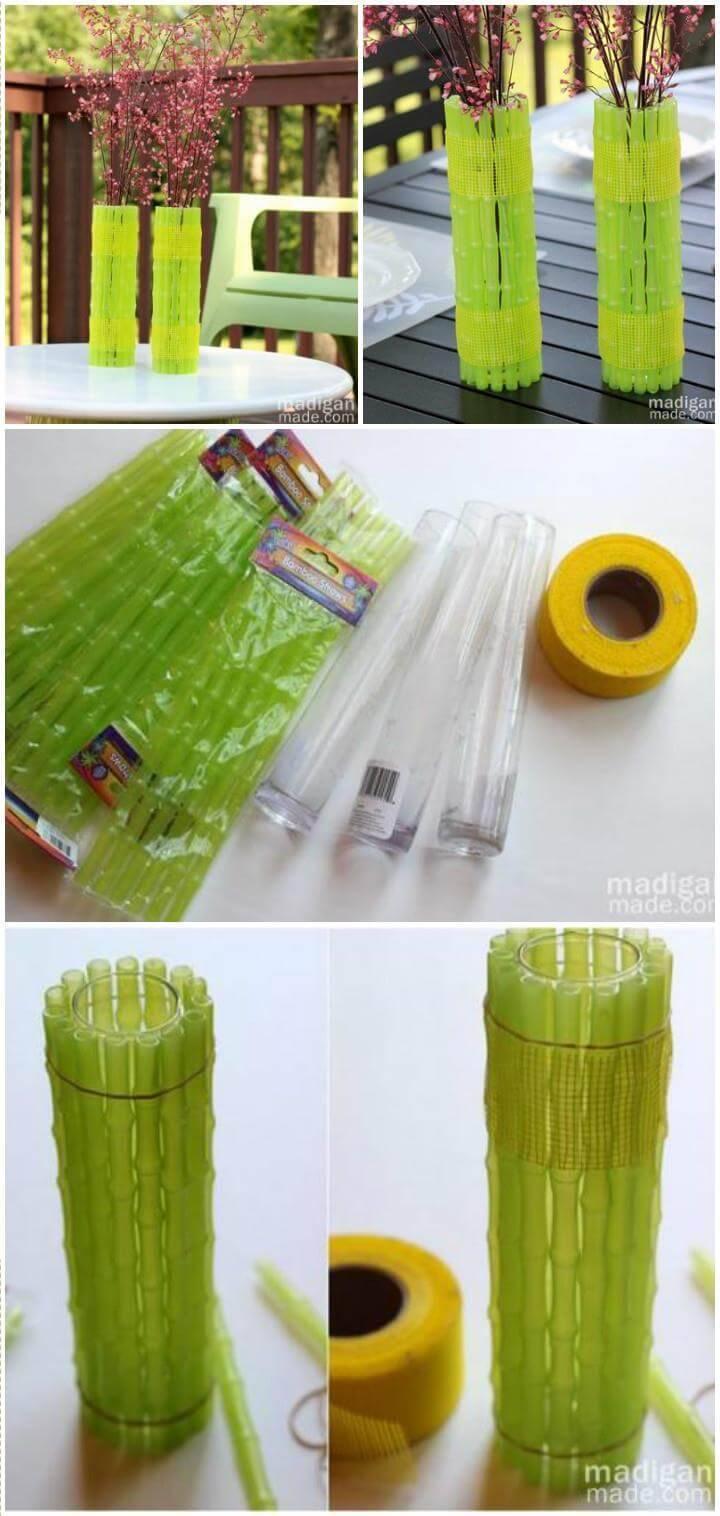 DIY neon bamboo vases
