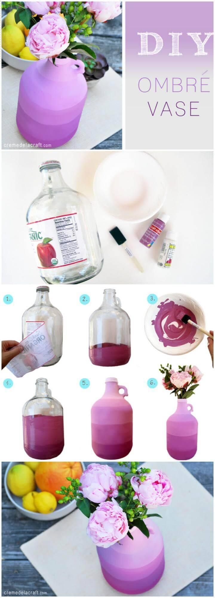 DIY painted old jug into vase