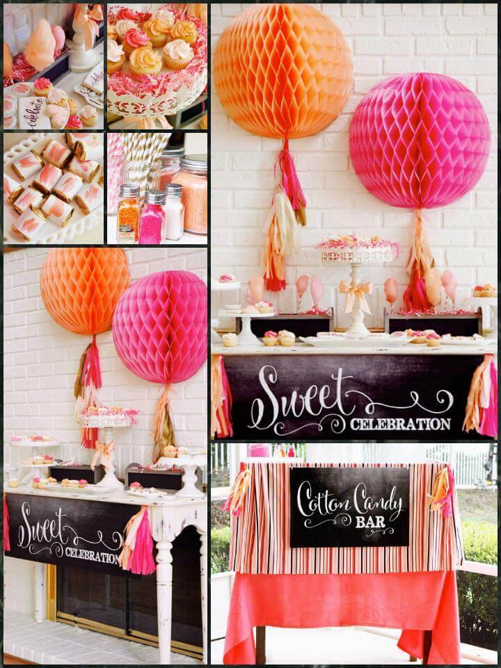 orange sherbet pink and gold graduation party theme