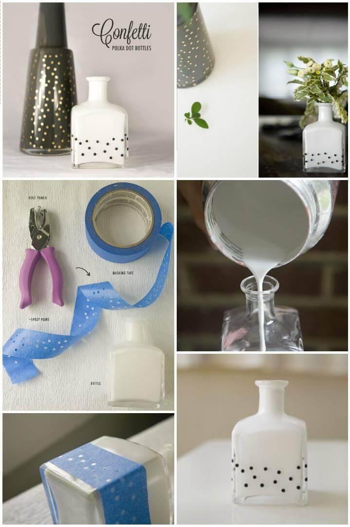 DIY perfume bottle polka dot vase,