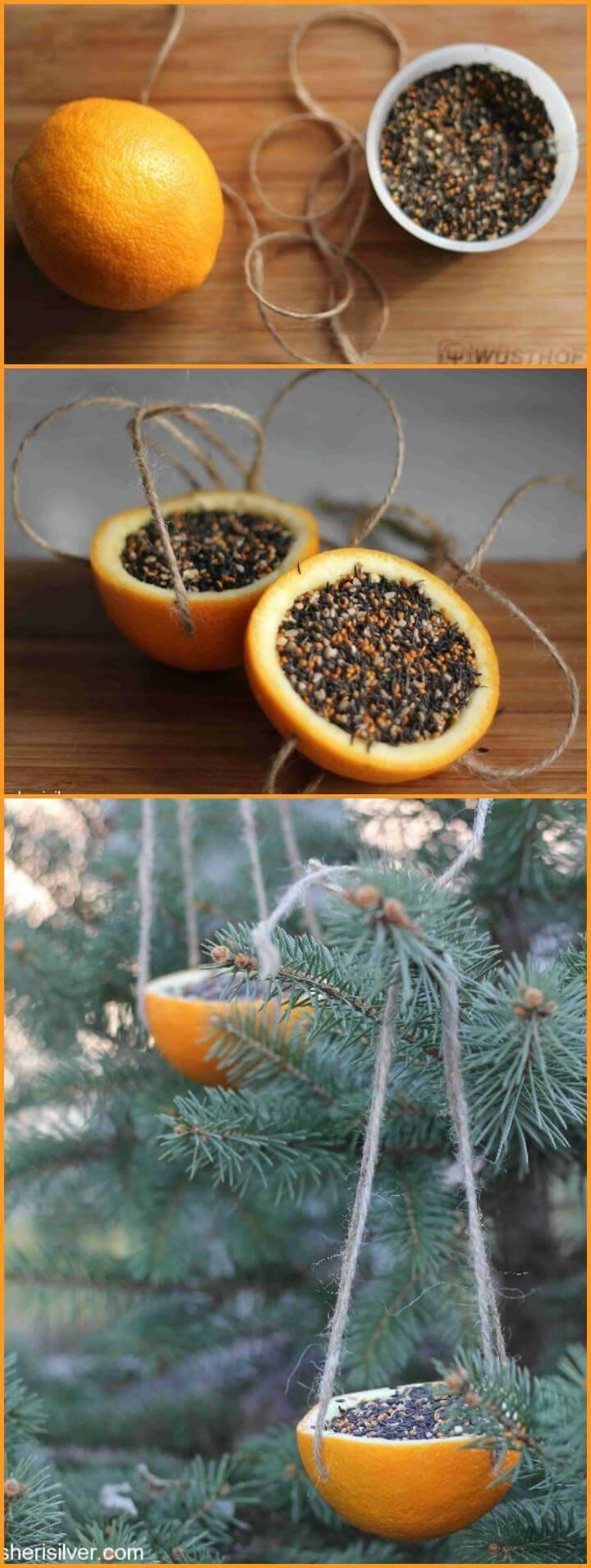 super easy orange bird feeder