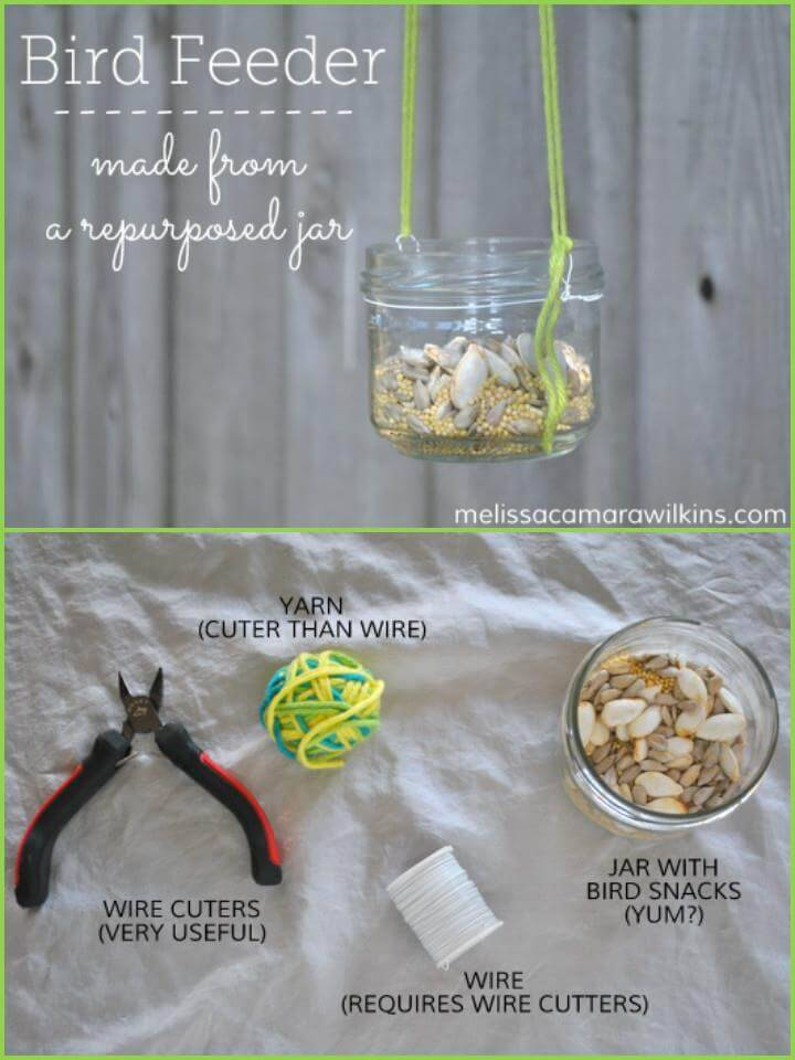repurposed glass jar bird feeder