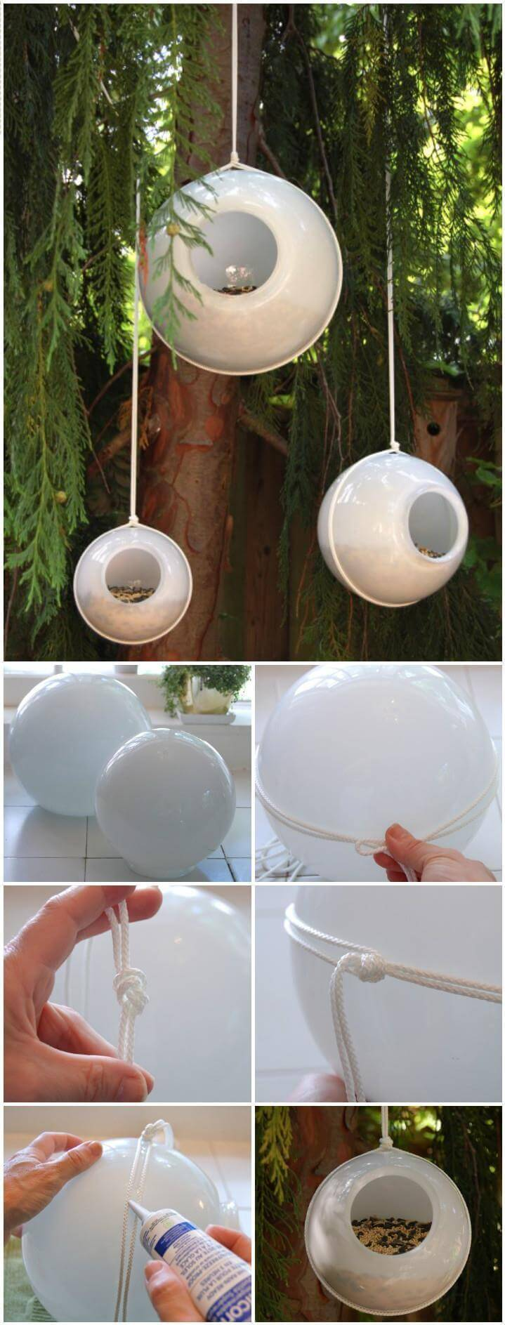 repurposed glass orbs bird feeders