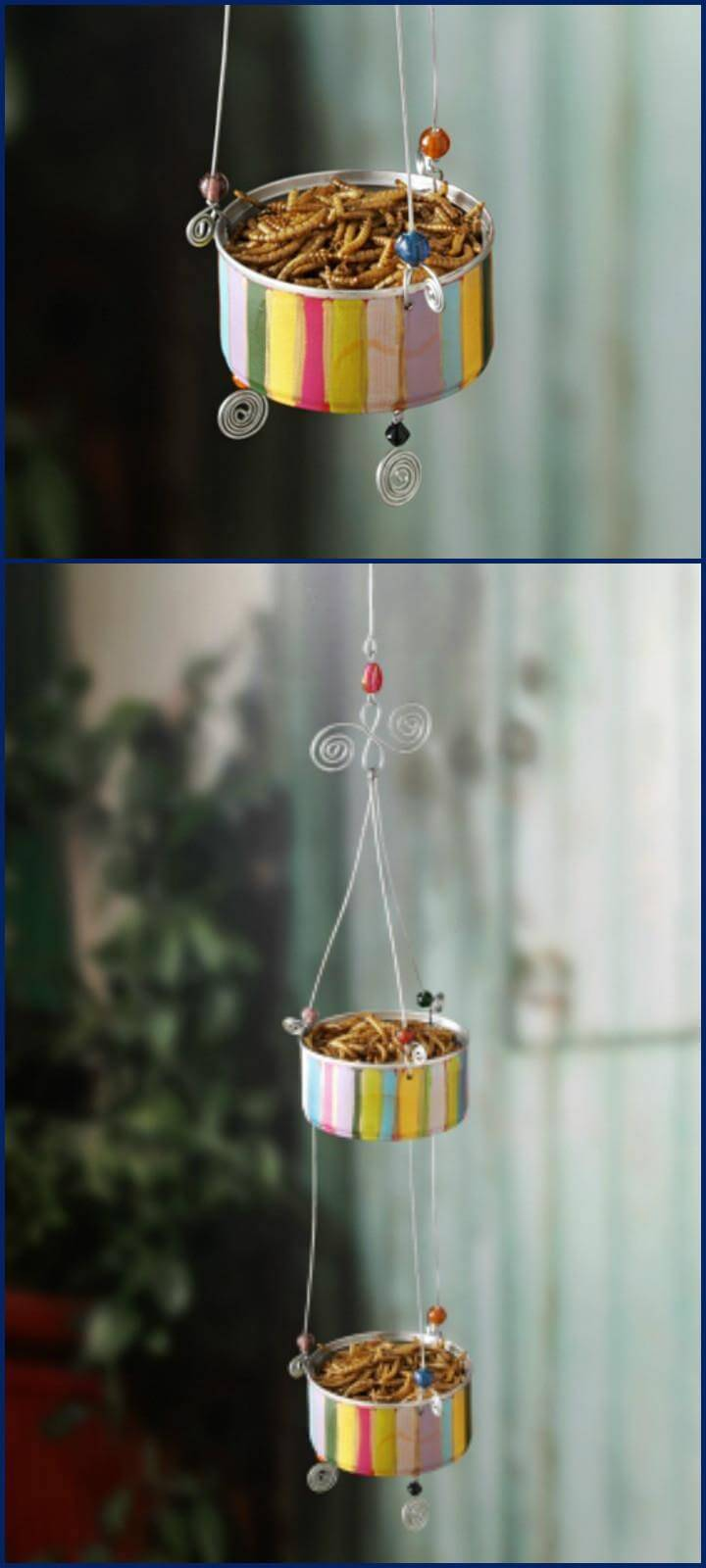 repurposed tuna or cat food can bird feeder
